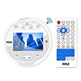 Premium Waterproof Marine Stereo Media Radio Round Headunit Receiver - LCD Digital Display with Bluetooth AM- FM Radio and Multimedia Aux (3.5mm) MP3 and Video Input, USB Drive & More - Remote Control