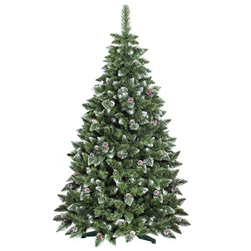 FAIRYTREES-Albero-di-Natale-artificiale-PINO-Bianco-naturale-ricoperto-di-neve-Materiale-PVC-vere-pigne-di-abete-incl-supporto-in-metallo-220cm-FT03-220