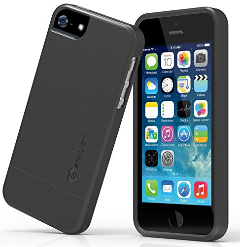 iPhone 5 5S SE Case: Stalion® Slider Series Matte-UV Textured Sliding Style Protective Hard Case (Matte Black)