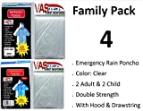 VAS-DOUBLE-STRENGTH-FAMILY-PACK-5-MIL-ADULT-CHILD-CLEAR-EMERGENCY-HOODED-RAIN-PONCHOS-WITH-SLEEVES-HOOD-W-DRAW-STRING
