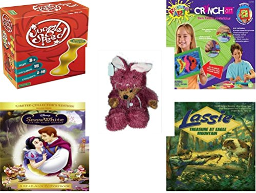 [Girl's Gift Bundle - Ages 6-12 [5 Piece] - Jungle Speed. Game - Crunch Art Fun Fabric Creations Toy - Teddy Bear Plush In Purple Mouse Costume 12