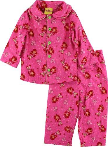 "Strawberry Shortcake ""Strawberry & Custard"" Girls Pink Flannel Pajama Set 4 front-963732"