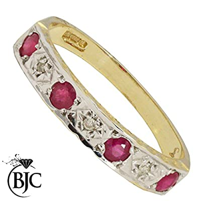 BJC© 9ct Yellow Gold Ruby & Diamond Half Eternity Engagement Ring Size O
