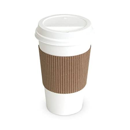 Pretty Sips Paper Hot Cups with Lids and Cup Sleeves, White (HOT16LS)