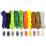 Paracord Planet Paracord Survival Bracelet Project Sunny Colors Combo Kit with 100 Feet in 10 Colors and 10 Buckles