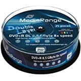 25 DVD+R Doble Capa Mediarange Printables 8.5GB 8x Spindle Double Dual Layer DVD Verbatim Imprimibles