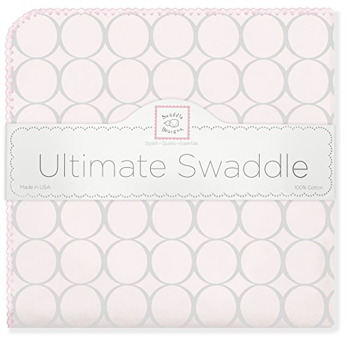 SwaddleDesigns Ultimate Receiving Blanket, Sterling Mod Circles on Sunwashed Pastels, Sunwashed Pink
