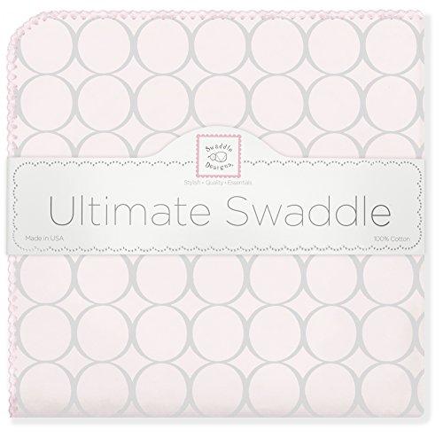 SwaddleDesigns Ultimate Receiving Blanket, Sterling Mod Circles on Sunwashed Pastels, Sunwashed Pink