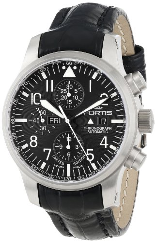 Fortis Men's 701.10.81 LC.01 F-43 Flieger Chronograph Black Automatic Chronograph Date Watch