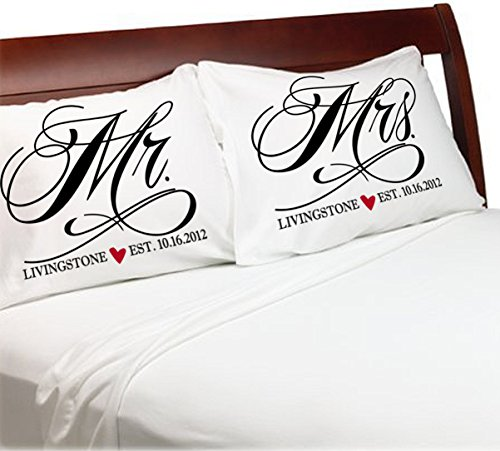 Mr and Mrs Pillowcases Wedding Anniversary Engagement Gift Idea for Husband Wife Newlyweds Bride and Groom Him (White-Personalized, Standard)