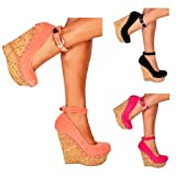 Onlineshoe Señoras para mujer del tachonados correa del tobillo de los zapatos de cuña - Cork tacón con tachuelas...