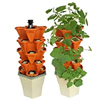 Vertical Gardening Grow System - Recirculating Hydroponic or Soil Growing Indoor and Outdoor - Vegetables, Herbs, Strawberries, Lettuce, Flowers - Hydroponics or Soil Tower - Complete Setup Kit For House or Apartment - Great Gifts For Men And Women - Mr Stacky