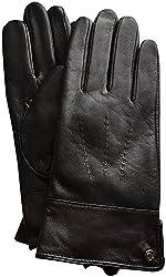 Lauren Ralph Lauren Contrast Cuff Leather Gloves Black XL