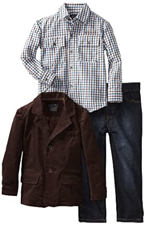 Kenneth Cole Little Boys' Blazer with Shirt and Jean, Brown, 5