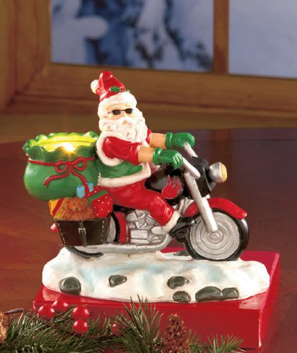Motorcycle Biker Santa Tea Light Candle Holder