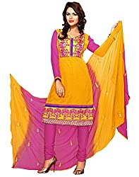 Fadattire Womens Cotton Dress Material (Fasa03 -Yellow And Pink -Free Size)