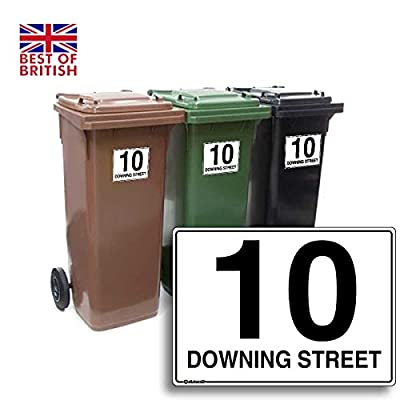 Personalised Wheelie Bin Sticker / Vinyl Labels with House Number & Street Name - Size A6 [4 Pack]