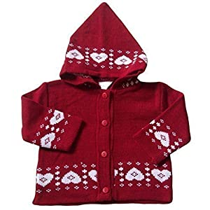 0-3 months - Baby Girls Cardigan - Beautiful Red and White LOVE HEARTS Pattern Knitted Hooded Cardigan