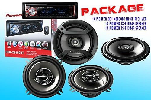 Package ! Pioneer Deh-X6600Bt Cd-Receiver + Pioneer Ts-G1344R Speaker + Pioneer Ts-F1344R Speaker