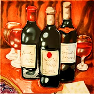 "Decorative Ceramic Art Tile - 8"" x 8"" - 3 Wine Bottles"