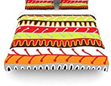 "Kess InHouse Jacqueline Milton ""Salsa-Orange"" Yellow Red Queen Cotton Duvet Cover, 88 by 88-Inch"