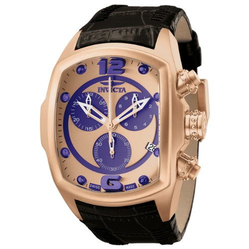 Invicta Men's 6734 Lupah Collection Chronograph Black Leather Watch