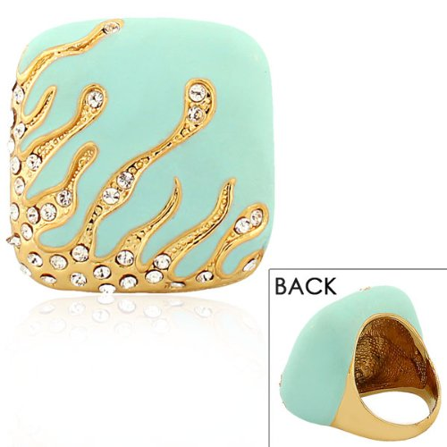 Stainless Steel Yellow Gold Turquoise Green Blue White Crystals Cz Statement Cocktail Womens Ring (9)