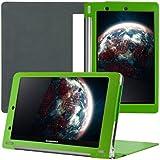 kwmobile Élégant étui en cuir synthétique pour Lenovo Yoga Tablet 10 en Vert avec FONCTION SUPPORT pratique