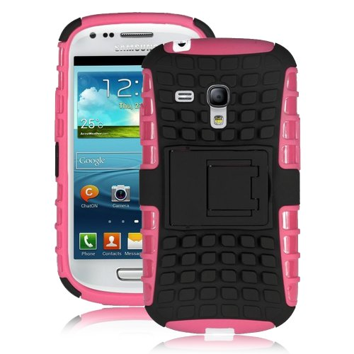 Jkase Diablo Series Tough Rugged Dual Layer Protection Case Cover With Build In Stand For Samsung Galaxy S3 Iii Mini I8190 - Retail Packaging (Hot Pink)