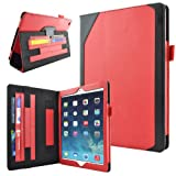 Caseen Apple iPad Air Genuine Leather Case (Red/Black) w/ Smart Cover Auto Sleep / Wake, Card Holders, Hand Strap, Stylus Holder (100% Real Authentic Leather Slim Folio) - DESIGNO Series