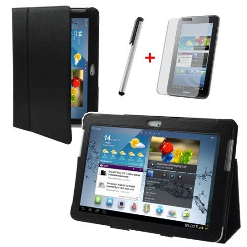 gada Ultra Slim Samsung Galaxy Tab 2 10.1 P5100 P5110 Leder Tasche Case Etui Cover Schutzhülle Hülle edel (aus PU Leder, schwarz) inkl. Kostenloser Displayschutzfolie und Touch-Pen Stift