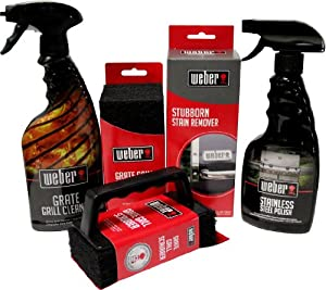 Weber Grill Cleaning Kit - Grill Spray Cleaner, Stainless Steel Polish, Grill Scraper, Stain Remover, and 20 Grill Scrubber Pads