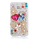 Mavis's Diary Handmade 3D Bling Crystal Full of Heart and Colorful Flowers Diamond White Pearl Case Cover with Soft Clean Cloth for Samsung Galaxy S2 i9100 Galaxy S 2 II Plus I9105 International Version