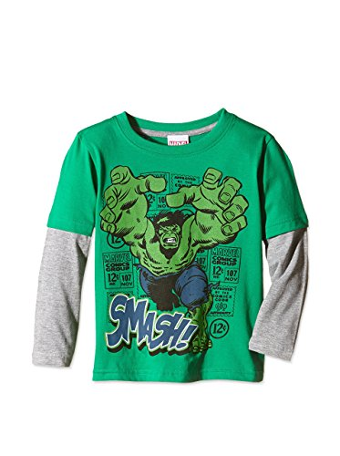 Marvel Marvel Comics - Hulk Smash - Kids Ls T-Shirt-Top Bambino    Green (Green/Grey) X-Large