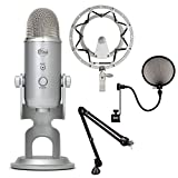 Blue Microphones Yeti USB Microphone - Silver with RODE PSA1 Swivel Mount Studio Microphone Boom Arm CAD Audio Pop Filter and Blue Microphones RADIUS Shockmount for Yeti and Yeti Pro