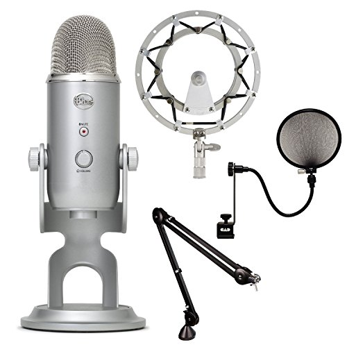 Blue Microphones Yeti Usb Microphone - Silver With Rode Psa1 Swivel Mount Studio Microphone Boom Arm, Cad Audio Pop Filter And Blue Microphones Radius Shockmount For Yeti And Yeti Pro