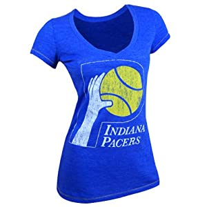 Indiana Pacers NBA Ladies Contrast Stitch V-Neck T-Shirt 2XL by Majestic Threads