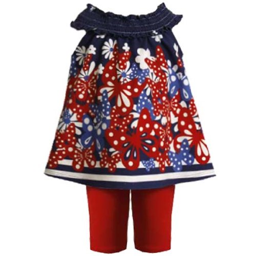 Bonnie Jean Baby 3M-9M Butterfly Border Print Ruched Neckline Dress/Legging Set
