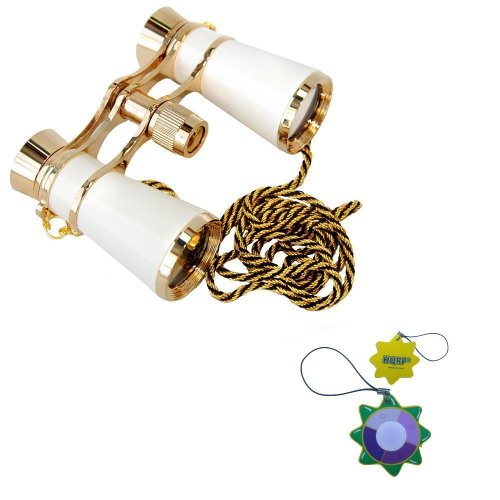 Hqrp High Magnification 7X25 Elegant White Pearl Color With Golden Trim And Golden Black Necklace Chain Binoculars For Races / Horserace / Bike Racing / Circus Show / Open Air Concerts / Fairs / Football, Baseball Matches / Parades Plus Uv Meter