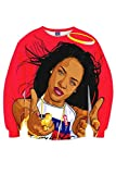 CHICOCO US Celeb Aaliyah Printed Long Sleeve Jersey Pullover Sweatshirts