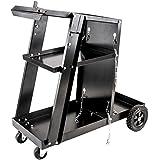 Welding Cart for MIG TIG Plasma Cutter ARC Tank Storage Universal Tough Portable Welder Weld Home Garage Shop Black Metal