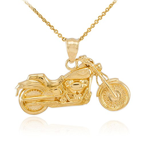 14k Yellow Gold High Polish Biker Charm Motorcycle Pendant Necklace