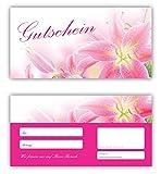 50 Geschenkgutscheine (Blumen-682) - Ein schönes Produkt für Ihre Kunden Gutscheine Gutscheinkarten für Bereiche wie Geschenke, Geburtstag, Freizeit, Wellness, Feier, Jubiläum, Frühling, Sommer, Blumenhandel - pink rosa Lilien