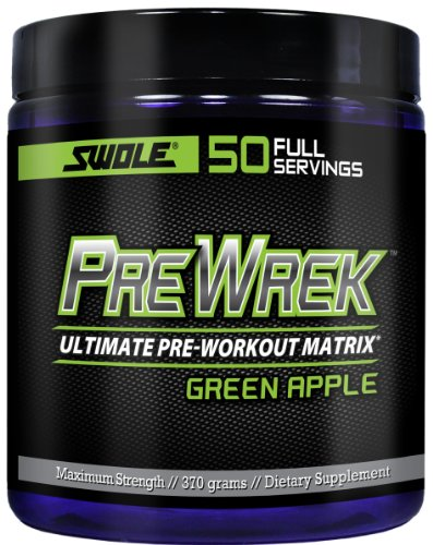 Swole Sports Nutrition Prewrek Pre-Workout Supplement, Green Apple, 370 Gram