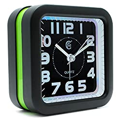JCC Large Number Loud Melody Alarm Square Non Ticking Silent Quartz Analog Travel Bedside Desk Alarm Clock with Snooze and Night Light Function, Battery Operated, Simple to Use (Green)