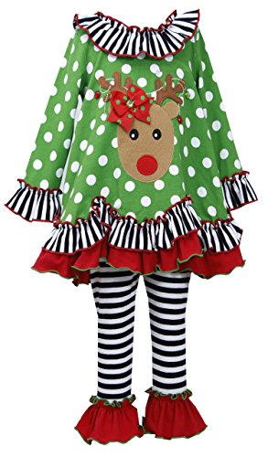 Bonnie Jean Little Girls' Christmas Reindeer Dress & Stripe Leggings 5 (X33502)