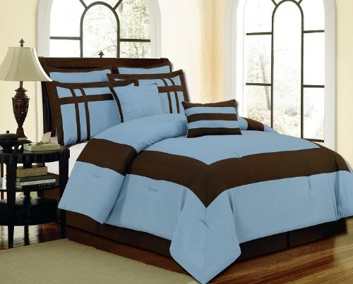 Multiple Size-12Pc Luxury Bed In A Bag- Georgia Blue/ Chocolate-King-White
