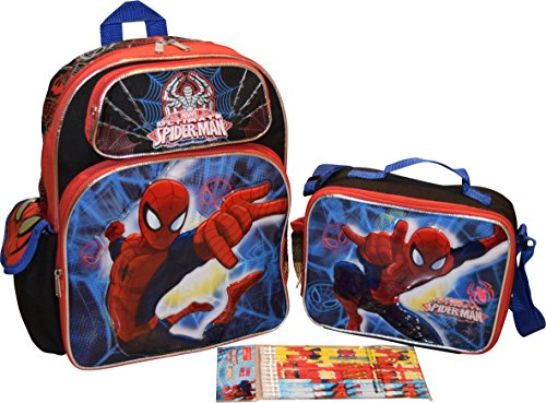 "Marvel Spiderman Set 14"" School Backpack & Lunch Box W/ Bonus 12Pk Pencils"