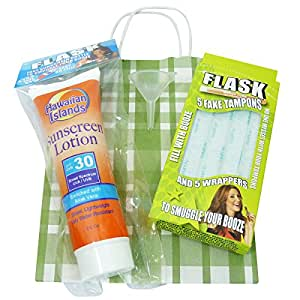 Flask Party Pack 3 Piece Gift Set with 5 Fake Tampons, Fake Sunscreen Bottle and Funnel