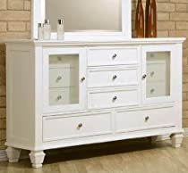 Big Sale Coaster Storage Dresser with Glass Doors in White Finish